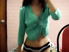 Asian college girl does solo in dorm-room