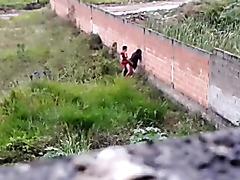Teen couple caught fucking outside