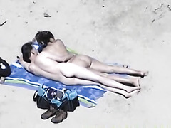 Sexually Lascivious wife with big bumpers on beach gives cook jerking to husband out of knowing...