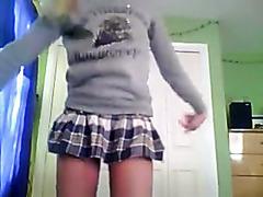 My teen GF makes a striptease video